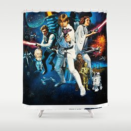 A New Hope Movie Poster George Lucas Han Solo Luke Skywalker Shower Curtain