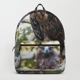 Golden eagle resting on a branch Backpack