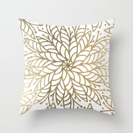 Elegant white faux gold floral trendy mandala Throw Pillow