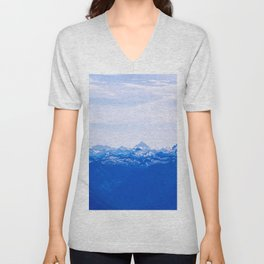 AERIAL PHOTOGRAPHY OF WHITE MOUNTAINS DURING DAYTIME Unisex V-Neck