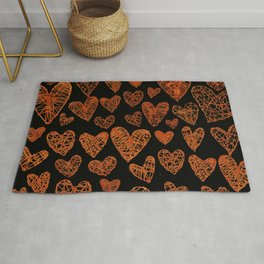 Wire Hearts Pattern in Copper on Black Rug