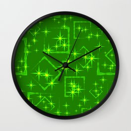 Lime diamonds and squares at the intersection with the stars on a green background. Wall Clock