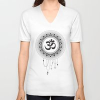 ohm V-neck T-shirts featuring Ohm Mandala by Lea Gregersen