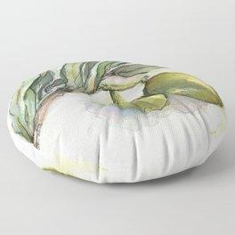 Olive Branch | Green Olives | Watercolor Illustration Floor Pillow