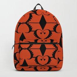 Black, orange ethnic pattern. Backpack
