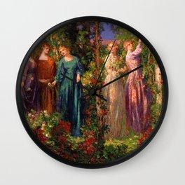 Rose Garden Tapestry Gather Ye Rosebuds While Ye May by Thomas Edwin Mostyn Wall Clock