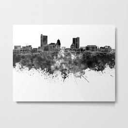 Fort Wayne skyline in black watercolor Metal Print