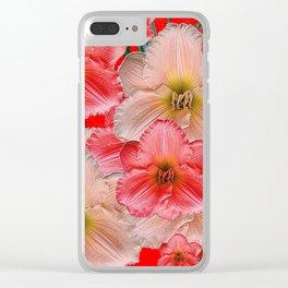 MODERN RED  PINK & CREAM DAYLILIES GARDEN PATTERNS Clear iPhone Case