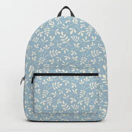 Cream on Blue Assorted Leaf Silhouette Pattern Backpack