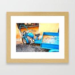 the blue scooter Framed Art Print
