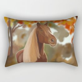 Blond and brown horse in fall Rectangular Pillow