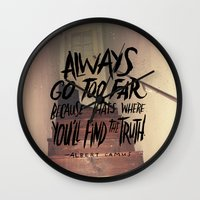 camus Wall Clocks featuring Camus on Finding the Truth by Josh LaFayette