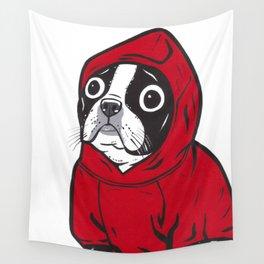 Red Hoodie Boston Terrier Wall Tapestry