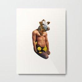 Muscle Cow Metal Print