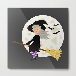 Cute Halloween Witch Girl Flying Cartoon Illustration Metal Print