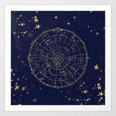 Metallic Gold Vintage Star Map 2 Art Print