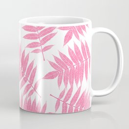 Modern girly pink botanical tropical leaves Coffee Mug