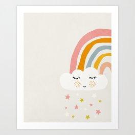 Rainbow, Abstract, Mid century modern kids wall art, Nursery room Art Print