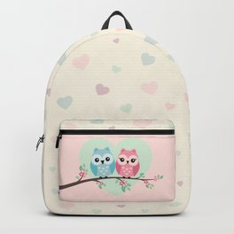 Cute owls on a branch Backpack