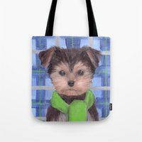 yorkie Tote Bags featuring Yorkie Poo in Scarf  by KAZUMI
