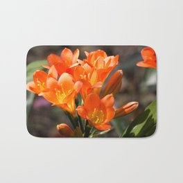 Bright Orange Clivia Bath Mat