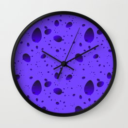 Large blueberry drops and petals on a light background in nacre. Wall Clock