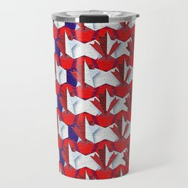 Awesome American to Canadian Flag Pattern! USA vs Canada. Travel Mug