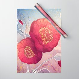 Christmas Roses :: Red Petals, Frosted Leaves Wrapping Paper
