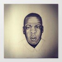 jay z Canvas Prints featuring Jay Z by Jade Delecia