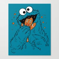 cookie monster Canvas Prints featuring COOKIE MONSTER! by Pose Kowski