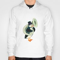 puffin Hoodies featuring Puffin On A Tuba by Oliver Lake