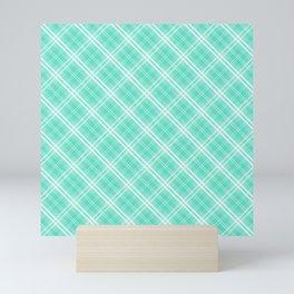 Pale Blue and White Diagonal Plaid Tartan Check Mini Art Print