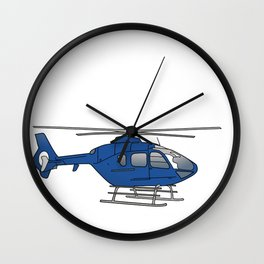 Blue helicopter Wall Clock