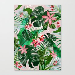 Tropical palm leaf with red flowers Canvas Print