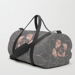 Rosegold  blossom on grey - Pink metal - effect flower Duffle Bag