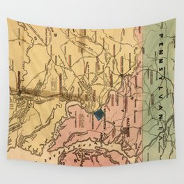 Vintage Virginia Civil War Map (1863) Wall Tapestry
