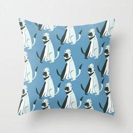 Weasel hugs pattern in blue Throw Pillow