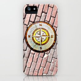 Compass Rose On Brick Street iPhone Case