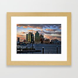 Baltimore skyline at dusk from waterfront Framed Art Print