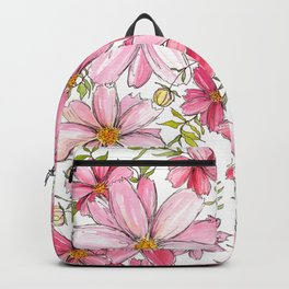 Pink Spring Flower Pattern Backpack