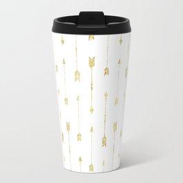 White And Gold Glitter Arrow Pattern Travel Mug