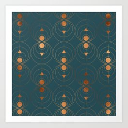 Copper Art Deco on Emerald Art Print