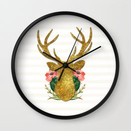 Floral Gold Deer Wall Clock
