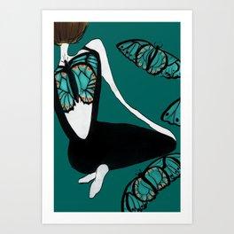 Butterfly Girl, Butterfly Tattoo, Butterfly art Art Print
