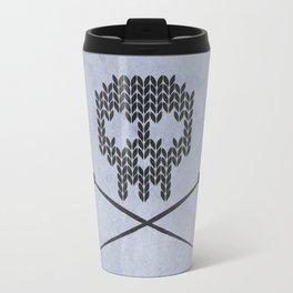 Knitted Skull (Black on Faded Periwinkle) Travel Mug