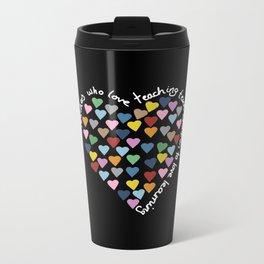 Hearts Heart Teacher Black Metal Travel Mug