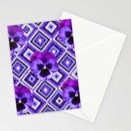 AFGHAN STYLE  PURPLE SPRING PANSIES  PATTERN ART Stationery Cards