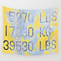 numbers Wall Tapestries featuring Big Numbers  by Ethna Gillespie