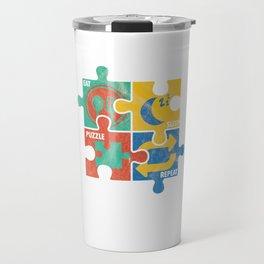Eat Sleep Jigsaw Puzzle Repeat Puzzler Brain Teaser Paradox Games Gift Travel Mug