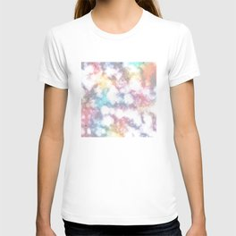 Blurred Rainbow Clouds: Faux Marble Pattern T-shirt
